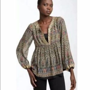 """Joie """"Janet"""" Silk Boho Embroidered Trim Blouse"""
